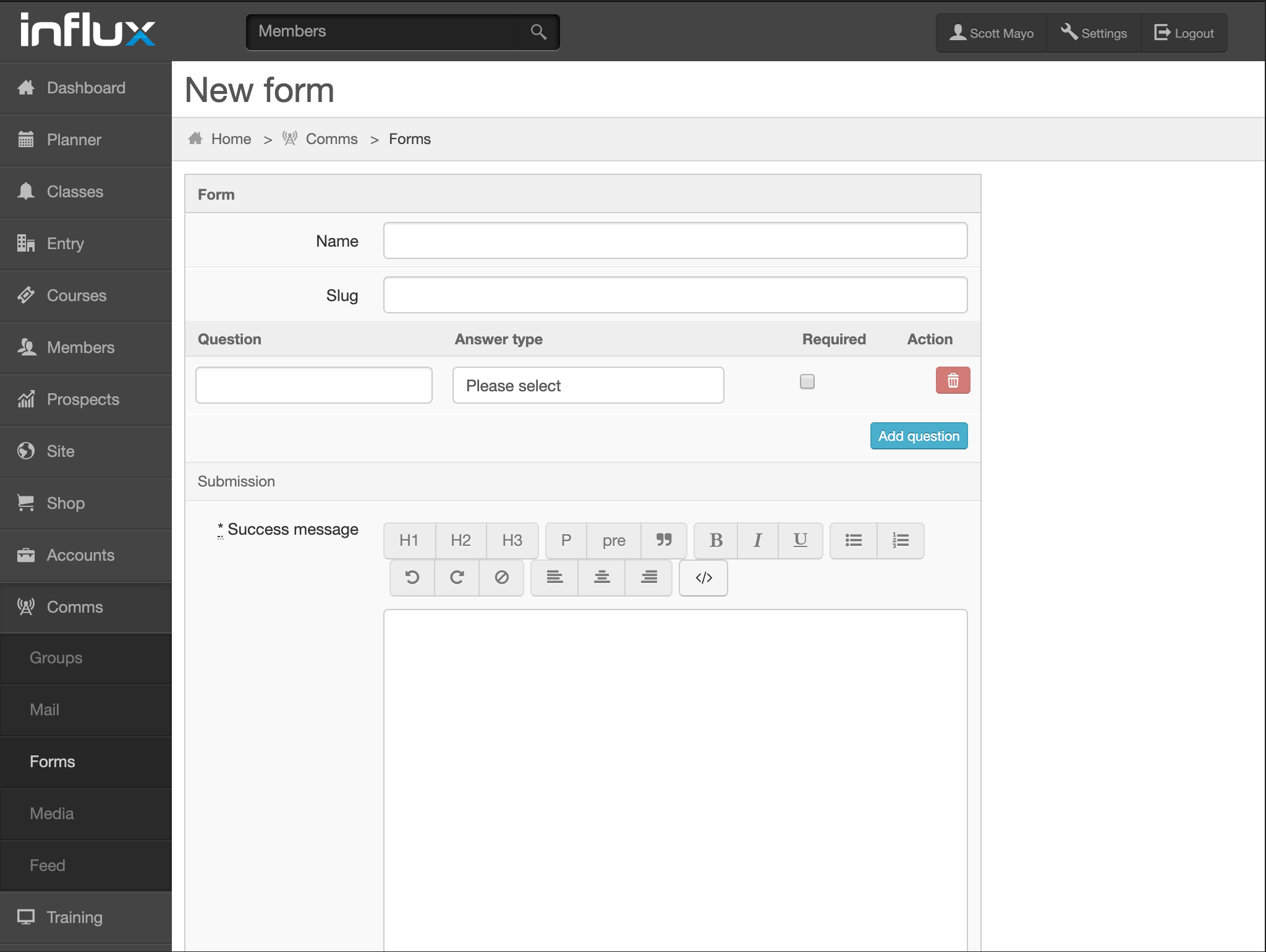 Creating a new custom form in Influx