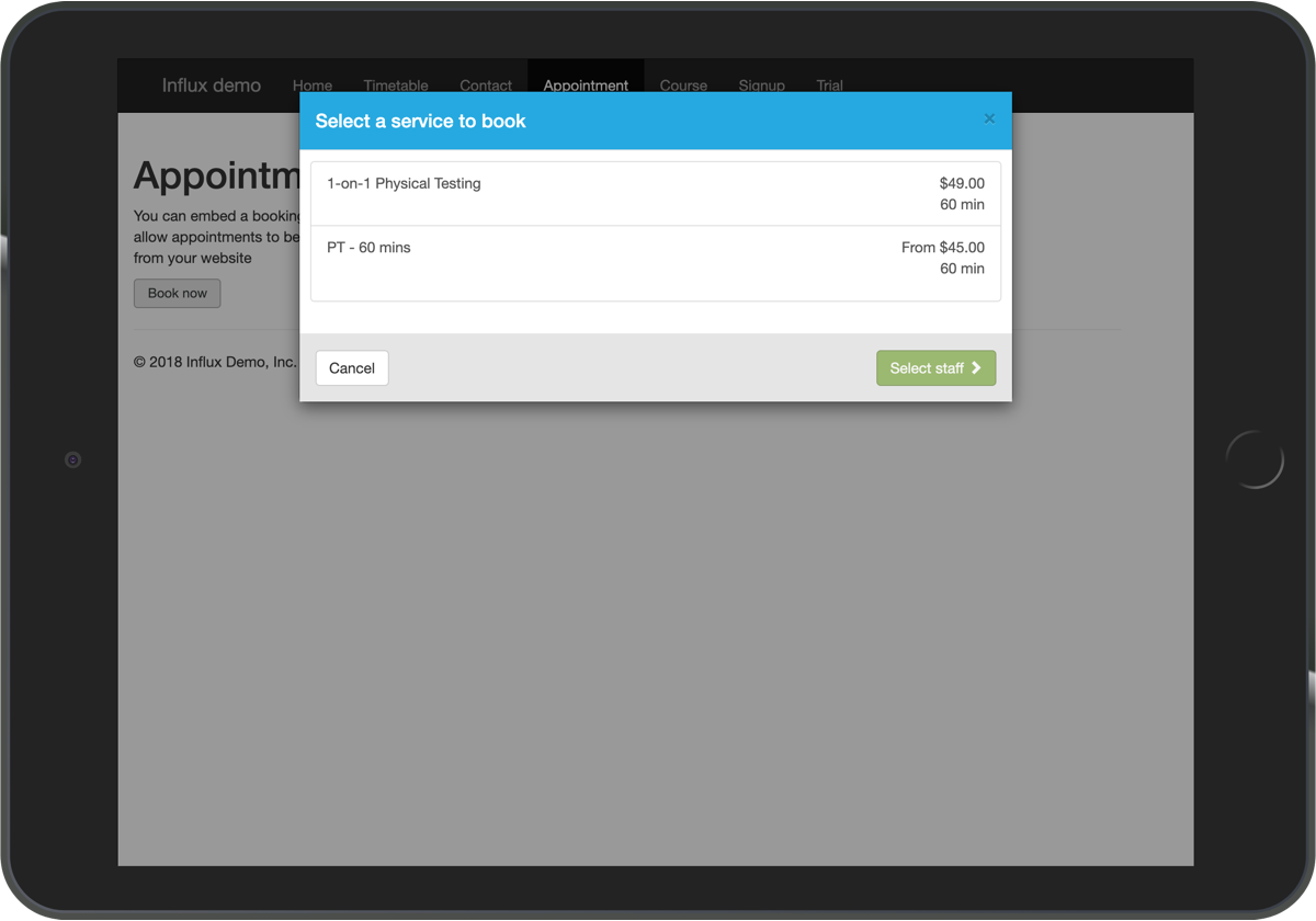 Embed Influx's appointment booking functionality into your website