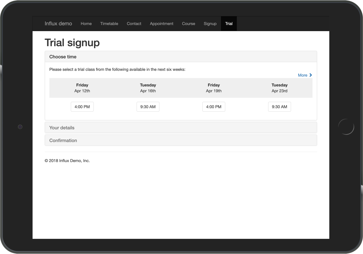 Embeddable trial signup form